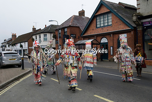 Overton Mummers. Overton Hampshire UK Boxing Day Folk Play 2014. St Marys Hall where Mummers  get changed before the first performance.