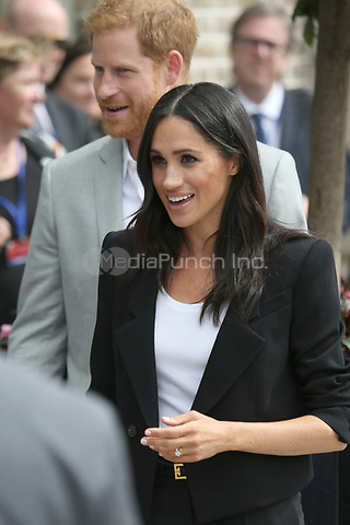 The Duke and Duchess are pictured as they visit DogPatch Labs in Dublin, Ireland.<br /> <br /> DogPatch Labs is a co-working space for technology start-ups located in Dublin's 'Digital Docklands'. Their Royal Highnesses will join the 7th birthday celebrations of CoderDojo, a global network of free computer programming clubs for young people that launched in Cork.<br /> <br /> The Duke and Duchess will also have the opportunity to talk to female tech entrepreneurs.<br /> <br /> JULY 11th 2018<br /> <br /> REF: MTX 182533<br /> <br /> Credit&quot; Trevor Adams/Matrix/MediaPunch ***NO UK***