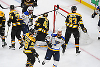 June 6, 2019: St. Louis Blues center Ryan O'Reilly (90) reacts to a goal on Boston Bruins goaltender Tuukka Rask (40) during game 5 of the NHL Stanley Cup Finals between the St Louis Blues and the Boston Bruins held at TD Garden, in Boston, Mass. The Blues defeat the Bruins 2-1 in regulation time. Eric Canha/CSM