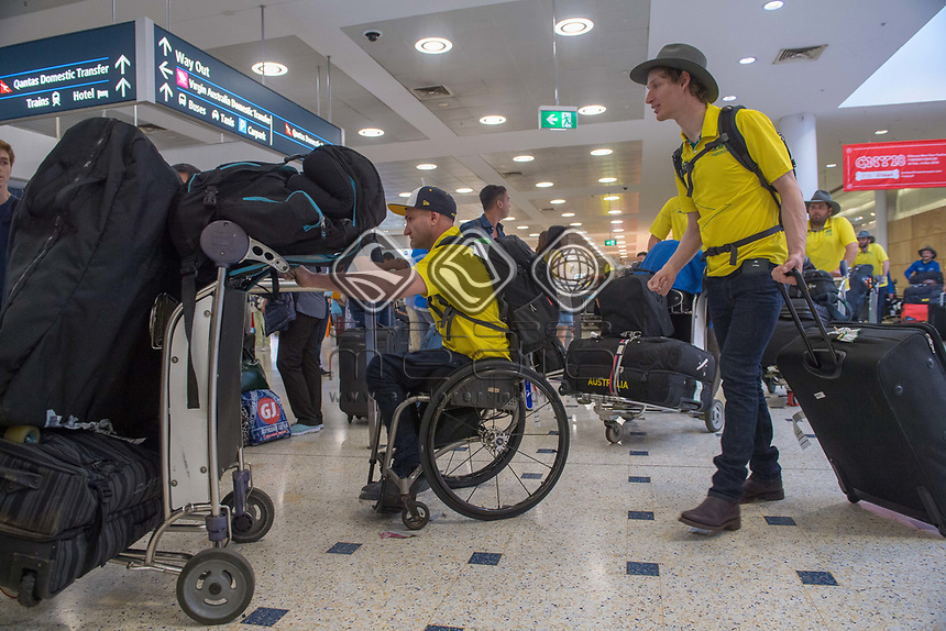 Welcome home - Sydney airport / Mark Sudor and Jonty O'Callaghan<br /> PyeongChang 2018 Paralympic Games<br /> Australian Paralympic Committee<br /> Sydney International Airport<br /> PyeongChang South Korea<br /> Tuesday March 20th 2018<br /> &copy; Sport the library / Jeff Crow