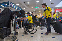 Welcome home - Sydney airport / Mark Sudor and Jonty O'Callaghan<br /> PyeongChang 2018 Paralympic Games<br /> Australian Paralympic Committee<br /> Sydney International Airport<br /> PyeongChang South Korea<br /> Tuesday March 20th 2018<br /> © Sport the library / Jeff Crow