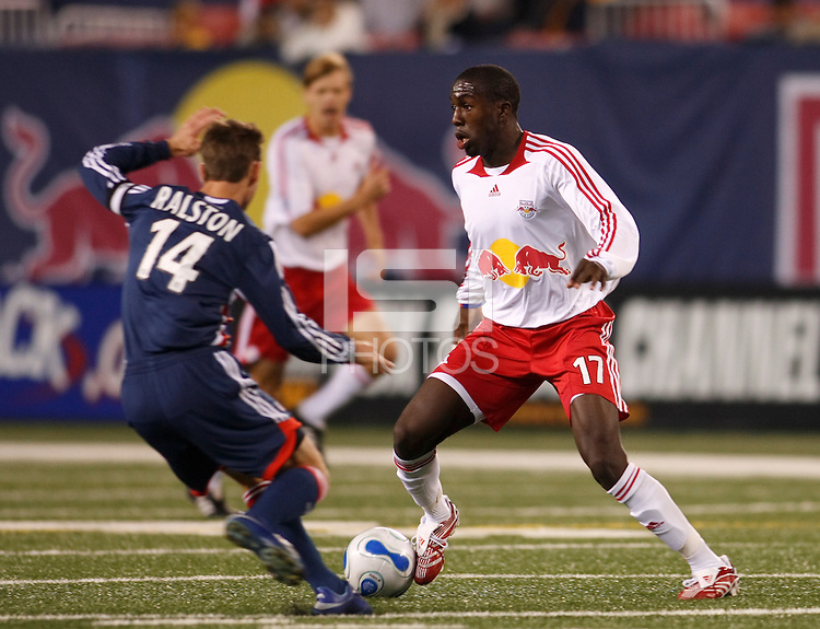 New York Red Bulls midfielder (17) Josmer Altidore and New England Revolution midfielder (14) Steve Ralston. The New York Red Bulls and the New England Revolution played to a 0-0 tie during first leg of the MLS Eastern Conference Semifinal Series at Giants Stadium in East Rutherford, NJ, on October 27, 2007.