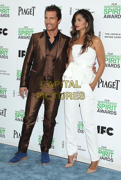 1 March 2014 - Santa Monica, California - Matthew McConaughey, Camila Alves. 2014 Film Independent Spirit Awards held at Santa Monica Beach. <br /> CAP/ADM/RE<br /> &copy;Russ Elliot/AdMedia/Capital Pictures