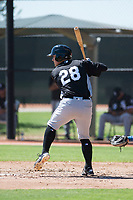Chicago White Sox catcher Nate Nolan (28) at bat during an Instructional League game against the Kansas City Royals at Camelback Ranch on September 25, 2018 in Glendale, Arizona. (Zachary Lucy/Four Seam Images)