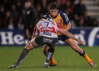 Montpellier's Jan Serfontein is tackled by Gloucester's Lewis Ludlow<br /> <br /> Photographer Bob Bradford/CameraSport<br /> <br /> European Rugby Heineken Champions Cup Group E - Gloucester v Montpellier Herault Rugby - Saturday 11th January 2020 - Kingsholm Stadium - Gloucester<br /> <br /> World Copyright © 2019 CameraSport. All rights reserved. 43 Linden Ave. Countesthorpe. Leicester. England. LE8 5PG - Tel: +44 (0) 116 277 4147 - admin@camerasport.com - www.camerasport.com