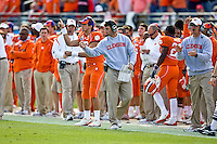 January 1, 2009:      Clemson head coach Dabo Swinney urges his players on during the  64th annual Konica Minolta Gator Bowl between the Nebraska Cornhuskers  and the Clemson Tigers  at Jacksonville Municipal Stadium in Jacksonville, Florida. Nebraska defeated Clemson 26-21.