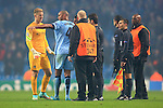Vincent Kompany of Manchester City complains to the referee at full time - Manchester City vs. CSKA Moscow - UEFA Champions League - Etihad Stadium - Manchester - 05/11/2014 Pic Philip Oldham/Sportimage
