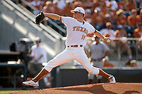 Texas Longhorn starting pitcher Sam Stafford #19 delivers against the Arizona State Sun Devils  in NCAA Tournament Super Regional Game #3 on June 12, 2011 at Disch Falk Field in Austin, Texas. (Photo by Andrew Woolley / Four Seam Images)