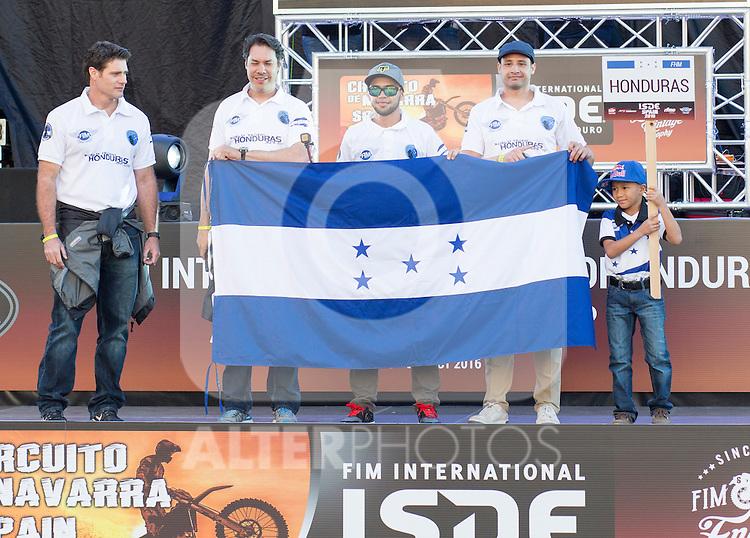 Honduras enduro team during the presentation of the FIM international six days of enduro 2016 in Pamplona, Spain. October 09, 2016. (ALTERPHOTOS/Rodrigo Jimenez)