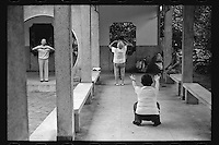Chinese elderly exercise at a park in Shanghai, China, August, 2012. (Leica M6, 50mm f2, Kodak TRI-X 400)