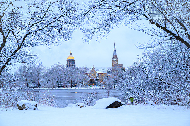 February 13, 2020; Campus skyline across St. Mary's lake on a winter morning. (Photo by Matt Cashore/University of Notre Dame)