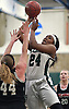 Kem Nwabudu #24 of Elmont drives to the net for two points during the Class A varsity girls basketball Long Island Championship against Mount Sinai at SUNY Old Westbury on Saturday, March 11, 2017. She scored 20 points in Elmont's 58-51 win.