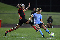 Piscataway, NJ, May 7, 2016.  Jessica McDonald (14) of the Western New York Flash tries to block a ball from Shawna Gordon (2) of Sky Blue FC.  The Western New York Flash defeated Sky Blue FC, 2-1, in a National Women's Soccer League (NWSL) match at Yurcak Field.