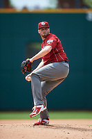 Lehigh Valley IronPigs starting pitcher Alec Asher (23) during a game against the Columbus Clippers on May 12, 2016 at Huntington Park in Columbus, Ohio.  Lehigh Valley defeated Columbus 2-1.  (Mike Janes/Four Seam Images)