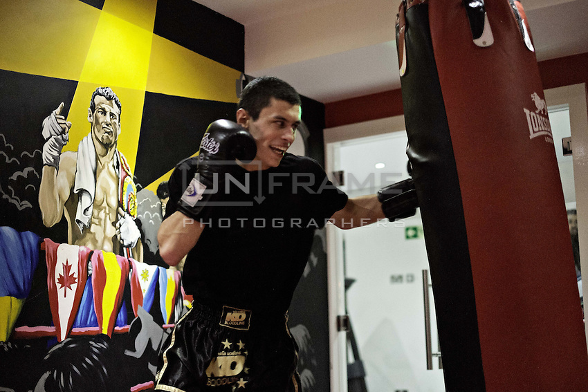 Przemek Kierpacz, a professional Muay Thai boxer and also an advocate for Roma Support Group, trains in his local gym. London, UK, 9th March 2015.