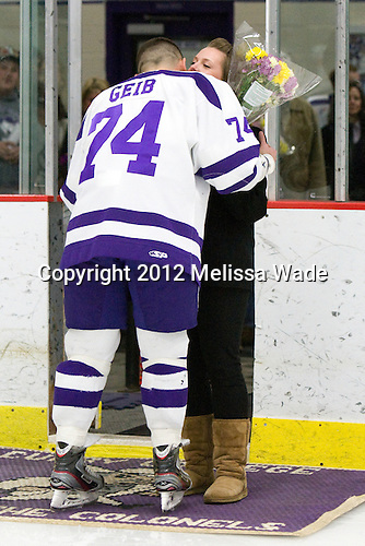 Shane Geib (Curry - 74) - The Curry College Colonels defeated the Johnson & Wales University Wildcats 5-4 on Curry's senior night on Saturday, February 18, 2012, at Max Ulin Rink in Milton, Massachusetts.