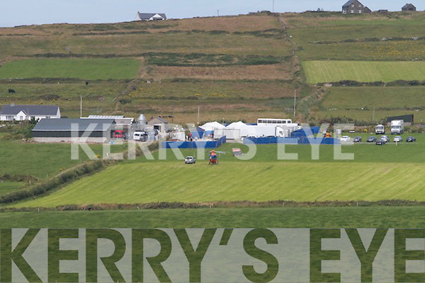 Filming of Star Wars: Episode VII at Skellig Michael on Monday. Pictured is Irish Helicopter's EI-ILS, landing at Con O'Shea's farm on Valentia Island. The helicopter was being used to transport the director J.J. Abrams, Mark Hamill, Daisy Ridley and other key members of crew between Valentia island and Skellig Michael.
