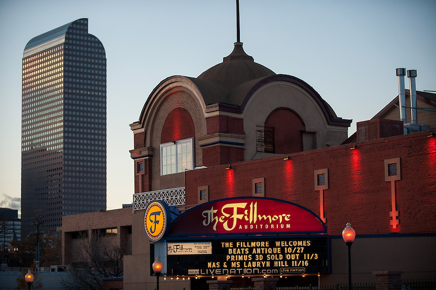 """10/27/12 - 2012 Concert Venues. A General view of the Downtown Denver Concert Venue """"The Fillmore Auditorium"""" at 1510 Clarkson Street (corner of Colfax Avenue and Clarkson Street)."""