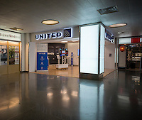 United Continental ticketing office in Penn Station in New York on Wednesday, September 9, 2015. Jeff Smisek, the CEO of the company has stepped down after allegations that he revived a defunct route to please the then Port Authority Chair David Samson.  (© Richard B. Levine)