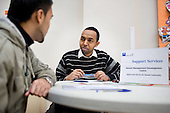 Somali Management Development Centre advice desk at a regular Monday afternoon drop-in advice session at the Beethoven Centre, Queen's Park.