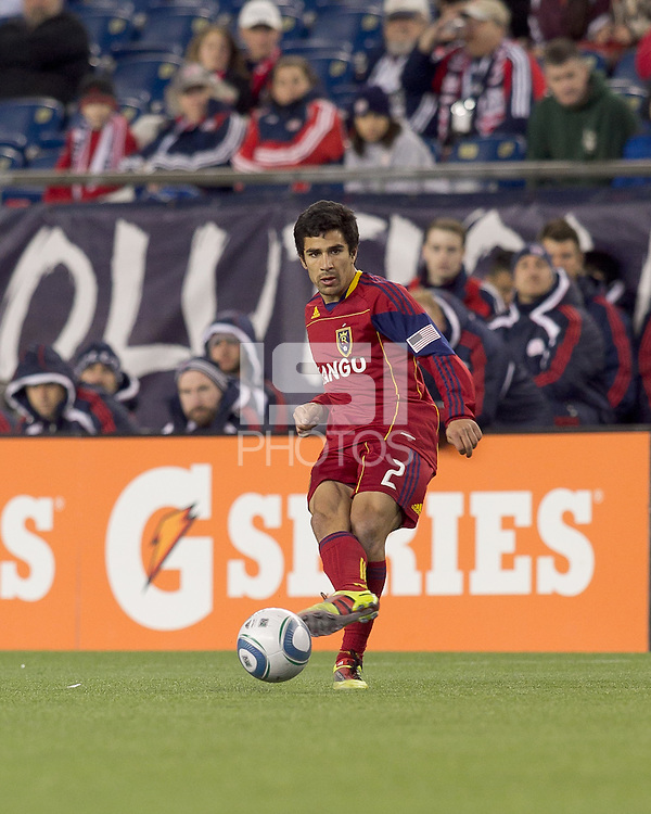 Real Salt Lake defender Tony Beltran (2) passes the ball. In a Major League Soccer (MLS) match, Real Salt Lake defeated the New England Revolution, 2-0, at Gillette Stadium on April 9, 2011.