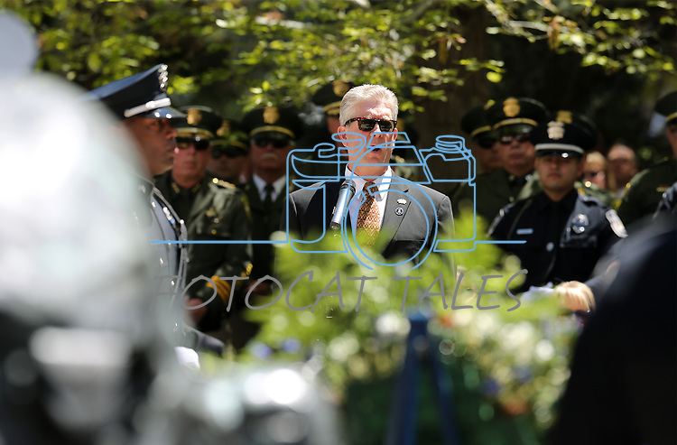 """Shawn Mahan sings """"Going Home"""" at the 20th annual Nevada Law Enforcement Memorial ceremony at the Capitol in Carson City, Nev., on Thursday, May 4, 2017.<br />Photo by Cathleen Allison/Nevada Photo Source"""