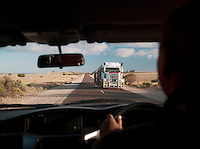 Passing a Road Train truck in the Eyre Peninsula, South Australia, Australia