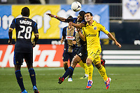Gabriel Gomez (6) of the Philadelphia Union and Dilly Duka (11) of the Columbus Crew. The Columbus Crew defeated the Philadelphia Union 2-1 during a Major League Soccer (MLS) match at PPL Park in Chester, PA, on August 29, 2012.
