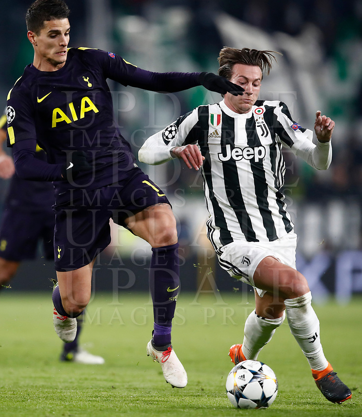 Football Soccer: UEFA Champions League Juventus vs Tottenahm Hotspurs FC Round of 16 1st leg, Allianz Stadium. Turin, Italy, February 13, 2018. <br /> Juventus' Federico Bernardeschi (r) in action with Tottenham's Erilk Lamela (l) during the Uefa Champions League football soccer match between Juventus and Tottenahm Hotspurs FC at Allianz Stadium in Turin, February 13, 2018.<br /> UPDATE IMAGES PRESS/Isabella Bonotto