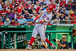 8 July 2017: Washington Nationals catcher Jose Lobaton in action against the Atlanta Braves at Nationals Park in Washington, DC. The Braves shut out the Nationals 13-0 to take the third game of their 4-game series. Mandatory Credit: Ed Wolfstein Photo *** RAW (NEF) Image File Available ***