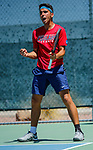 SURPRISE, AZ - MAY 12: Alvaro Regalado of the Columbus State Cougars celebrates a point against Vivien Versier of the Barry Buccaneers during the Division II Men's Tennis Championship held at the Surprise Tennis & Racquet Club on May 12, 2018 in Surprise, Arizona. (Photo by Jack Dempsey/NCAA Photos via Getty Images)