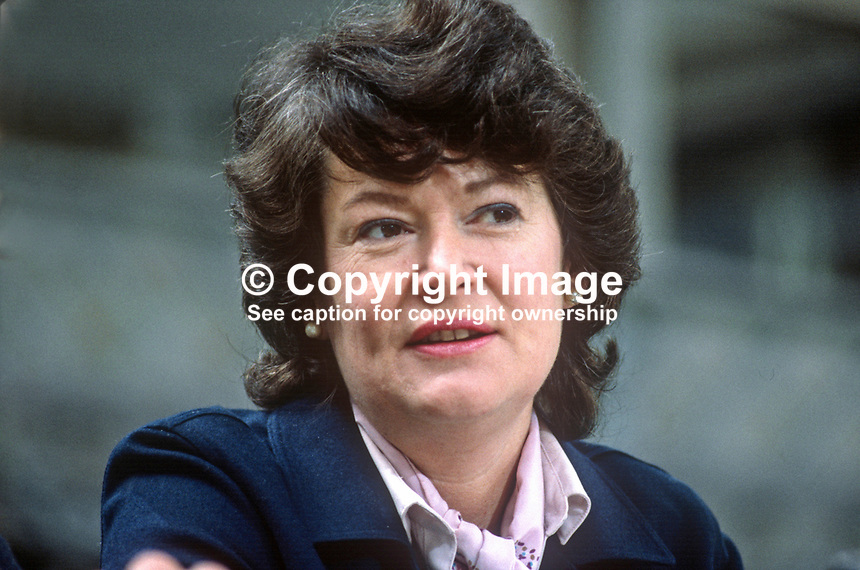 Gemma Hussey, senator, Fine Gael, political party, Rep of Ireland, on platform at party's annual conference, aka Ard Fheis. 198103000059GH1.<br />