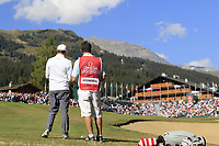 Matthew Fitzpatrick (ENG) prepares to play his 2nd shot on the 18th hole during Saturday's Round 3 of the 2018 Omega European Masters, held at the Golf Club Crans-Sur-Sierre, Crans Montana, Switzerland. 8th September 2018.<br /> Picture: Eoin Clarke | Golffile<br /> <br /> <br /> All photos usage must carry mandatory copyright credit (&copy; Golffile | Eoin Clarke)