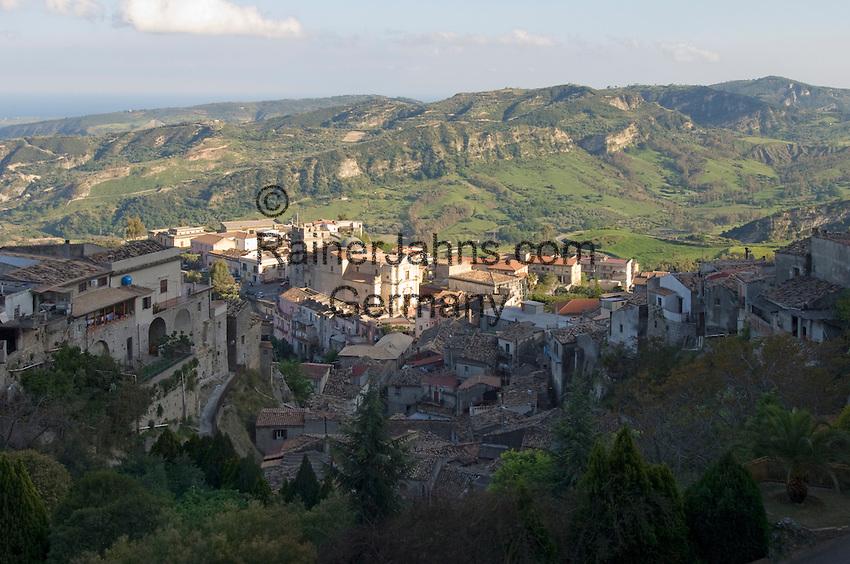 Italy, Calabria, Stilo: small town at Monte Consolino