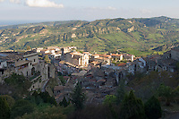 Italy, Calabria, Stilo: small town at Monte Consolino