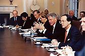 United States President Bill Clinton chairs a Cabinet Meeting in the Cabinet Room of the White House in Washington, DC on January 23,1998. Pictured from Left to Right: Richard Riley, US Secretary of Education; Donna Shalala, US Secretary of Health and Human Services; Bruce Babbitt, US Secretary of the Interior; Madeleine Albright, US Secretary of State; President Clinton; Erskine Bowles, White House Chief of Staff; and William Cohen, Secretary of Defense<br /> In the background, from left to right: Gene Sperling, Assistant to the President President for Economic Policy and Jack Gibbons, Director, Office of Science and Technology Policy<br /> Mandatory Credit: Sharon Farmer / White House via CNP