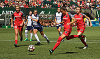 Portland, OR - Saturday September 02, 2017: Nadia Nadim scores a goal  during a regular season National Women's Soccer League (NWSL) match between the Portland Thorns FC and the Washington Spirit at Providence Park.