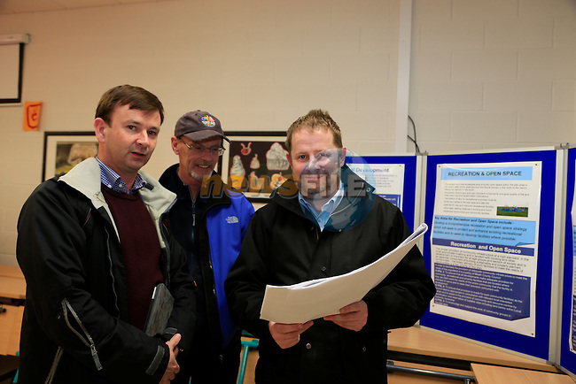 Alan Watson, Thomas Fitzpatrick and Gareth O'Brien Information meeting in reference to the new East Meath Local Area Plan in Colaiste Na HInse, Bettystown.<br />  Picture: Fran Caffrey www.newsfile.ie