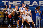BROOKINGS, SD - NOVEMBER 3:  Adam Dykman #32 and Lane Severyn #25 from South Dakota State apply pressure to Tristan Von Nieda #55 from SD School of Mines in the first half of their exhibition game Thursday evening at Frost Arena in Brookings. (Photo by Dave Eggen/Inertia)