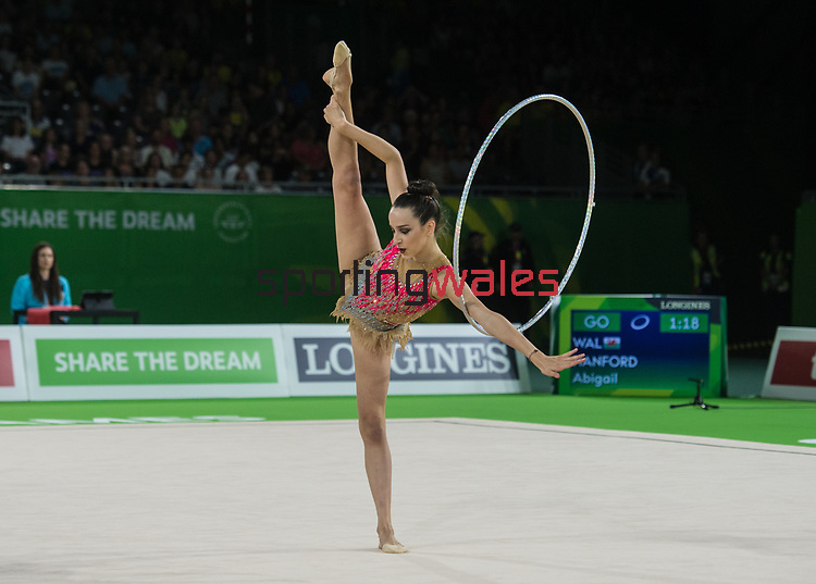 Wales Abigail Hanford in action during todays event<br /> <br /> *This image must be credited to Ian Cook Sportingwales and can only be used in conjunction with this event only*<br /> <br /> 21st Commonwealth Games - Rhythmic Gymnastics - Team Final & Individual Qualification -  Day 7 - 11\04\2018 - Coomera Indoor Sports Centre - Gold Coast City - Australia