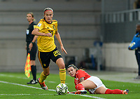 20181009 – BIEL BIENNE , SWITZERLAND : Belgian Julie Biesmans pictured with Swiss Ramona Bachmann during the female soccer game between Switzerland and the Belgian Red Flames , the second leg in the semi finals play offs for qualification for the World Championship in France 2019 ; the first leg ended in equality 2-2 ;  Tuesday 9 th october 2018 at The Tissot Arena  in BIEL BIENNE , Switzerland . PHOTO SPORTPIX.BE | DAVID CATRY