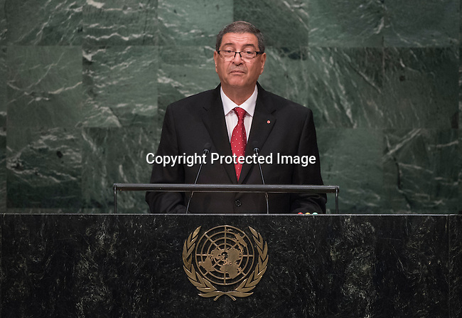 His Excellency Habib Essid, Head of Government of the Republic of Tunisia   <br /> General Assembly Seventieth session 9th plenary meeting: High-level plenary meeting of the (6th meeting)