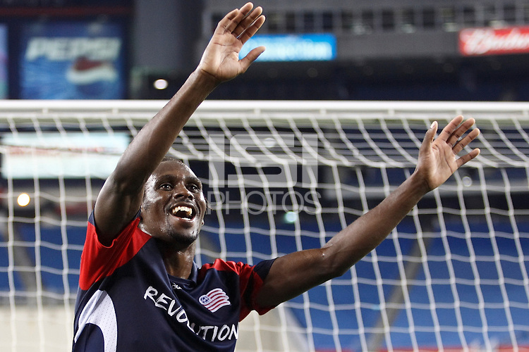 New England Revolution forward Kheli Dube (11) celebrates after the game. The New England Revolution defeated Pachuca CF 1-0 during a Group B match of the 2008 North American SuperLiga at Gillette Stadium in Foxborough, Massachusetts, on July 16, 2008.