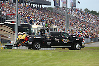Mar 14, 2015; Gainesville, FL, USA; NHRA Safety Safari truck in position during qualifying for the Gatornationals at Auto Plus Raceway at Gainesville. Mandatory Credit: Mark J. Rebilas-