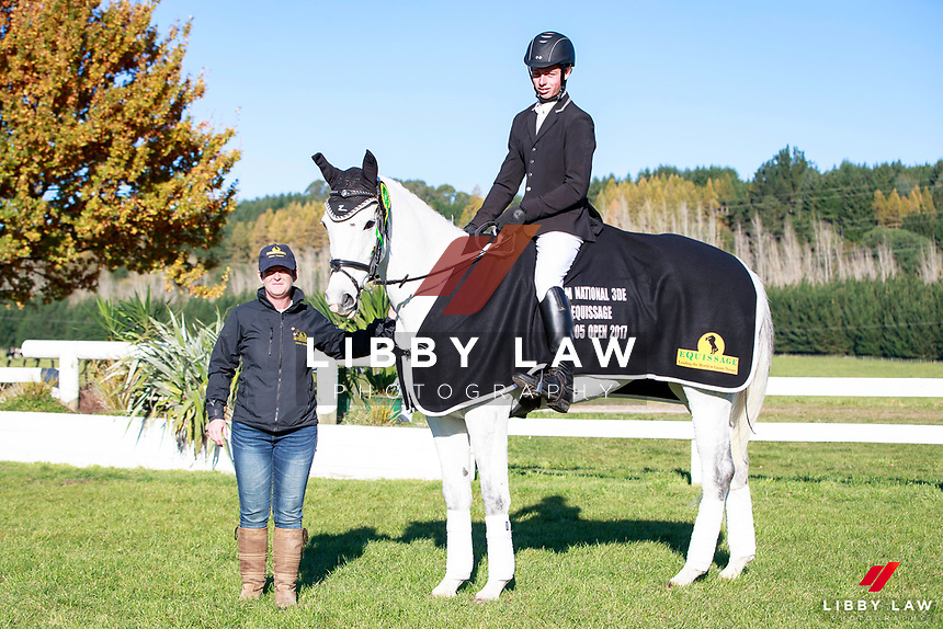 Jeffrey Amon with My Silver Lining take the Title for the Equissage CCN105 Open Class during the Prizegiving at the 2017 NZL-NRM National Three Day Event Championships. National Equestrian Center, Taupo. Sunday 14 May. Copyright Photo: Libby Law Photography