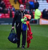 Lincoln City kit assistant Dick Tacey during the pre-match warm-up<br /> <br /> Photographer Andrew Vaughan/CameraSport<br /> <br /> The Emirates FA Cup Second Round - Lincoln City v Carlisle United - Saturday 1st December 2018 - Sincil Bank - Lincoln<br />  <br /> World Copyright © 2018 CameraSport. All rights reserved. 43 Linden Ave. Countesthorpe. Leicester. England. LE8 5PG - Tel: +44 (0) 116 277 4147 - admin@camerasport.com - www.camerasport.com