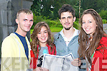 GOOD NEWS: Brookfield College students Shane Kelly (Killarney), Mary O'Grady (Ballymac), Kevin Kennelly (Caragh Lake) and Kealin Ross (Tralee) share their good news after receiving their Leaving Cert results on Wednesday.