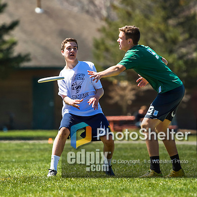 30 April 2016: The Vermont Commons School Flying Turtles Varsity Ultimate Team plays Essex High School in the Champlainships Ultimate Disk Tournament at the Williston Regional Center in Williston, Vermont. Mandatory Credit: Ed Wolfstein Photo *** RAW (NEF) Image File Available ***