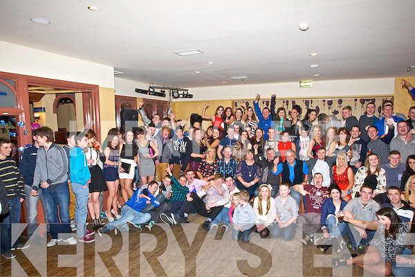 KEY OF THE DOOR: Shane Dolan  Ballyheigue who celebrated his 21st with his family and half of Ballyheigue on Saturday night in The Whitec Sands Hotel, Ballyheigue. (Shane seated centre)