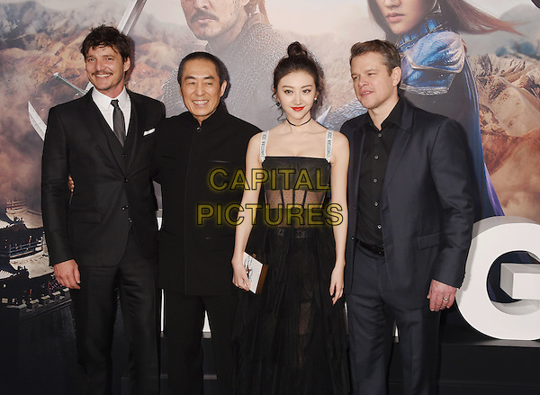 HOLLYWOOD, CA - FEBRUARY 15: (L-R) Actor Pedro Pascal, director Zhang Yimou, and actors Jing Tian and Matt Damon arrive at the premiere of Universal Pictures' 'The Great Wall' at TCL Chinese Theatre IMAX on February 15, 2017 in Hollywood, California.<br /> CAP/ROT/TM<br /> &copy;TM/ROT/Capital Pictures